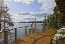 terrazas y porches / Terrazas y porches de las #casas ecológicas de #madera Kuusamo Log Houses