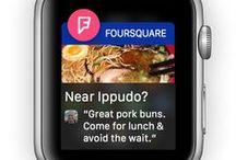 Foursquare / Swarm / Pines relacionados con las aplicaciones móviles Foursquare y Swarm