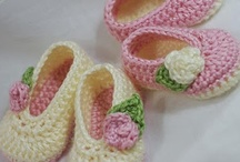 Crochet & knitted: on legs / shoes, boots,  slippers, socks