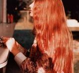redheads / A redhead moodboard curated by American in Paris watercolor illustrator, Jessie Kanelos Weiner. Redheads, Ginger hair, Grace Coddington, red hair, 1970s fashion photography, William Eggleston fashion photography