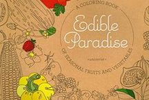Edible Paradise: A Coloring Book of Seasonal Fruits and Vegetables (Universe) / Inside the pages of Edible Paradise: A Coloring Book of Seasonal Fruits and Vegetables (Universe) by American in Paris watercolor illustrator, Jessie Kanelos Weiner. Rizzoli New York. Best adult coloring books. Coloring books 2016. Food coloring pages. Free coloring pages for adults. Edible plant kingdom. Berry illustration. Best food illustration. Vogue illustrator. Watercolor food illustration. Modern botanical illustration