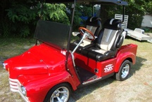 48 Chevy Golf Cart / This started out as a 2009 Ez Go PDS, suspension was completely detailed out, front end lowered, high speed gears, 400 AMP Controller, body was painted torch red, installed El Tiger custom bucket seats, Sony Stereo System in custom dash. Golf cart was GPS at 26 MPH with stock motor.