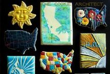 Wall Art | California USA / For The Cookie Architect's 5000 Like Giveaway of FB Wall Art/Folk Art feel USA California- Sun, Surf, Disneyland