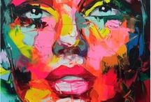 NIELLY Françoise / Originaire de Marseille et installée aujourd'hui à Paris, Françoise NIELLY s'est fait remarquer par son incroyable dextérité à manier le couteau et la peinture à l'huile.   Exposant aujourd'hui dans le monde entier, son art a pour vocation de rapprocher la technique cubiste, par la représentation des corps en facettes, et un univers pop acidulé, en s'inspirant des peintures du maître du Pop Art Andy Warhol.