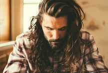 Men / Long hair / Bun / Beard / Moustache