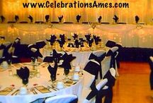 CELEBRATIONS | Our Events / Examples of local events exclusively by Celebrations Party & Weddings in Iowa. We provide tables, chairs, linens, chair covers, sashes, table runners, centerpieces, balloons, etc. in Central Iowa. We have two locations: West Des Moines and Ames.   Telephone:  515.268.9333  Website: www.celebrationsames.com