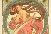 Alphonse Mucha posters / The Czech graphic designer (1860–1939) whose distinct Art Noveau posters delighted renowned actress Sarah Bernhardt in 1894 and inspired hippie and psychedelic poster design in the 1960's