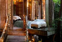 Tree houses / I live in a log house between trees, so I can pretend it is a tree house:)