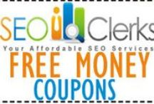 SEOClerks Coupons - SEO & Social Media Coupon Codes / This Board is for Promoters of SEO & Social Media - Please Post any Coupons, Discounts, Deals, or Special Promos Relating to SEO, Online & Affiliate Marketing, and Social Media-  http://FreeMoney.SEOClerkz.com / by Promo P.I.M.P.S