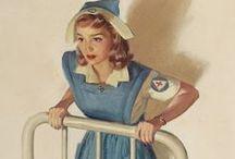 Carteles vintage enfermería y medicina / Carteles, dibujos y cuadros de enfermeras, médicos y servicios asistenciales de estilo retro, vintage y pinup.