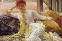 Project: 1870s Dresses / (1) Striped Dress, first bustle  (2) Yellow and White Natural Form