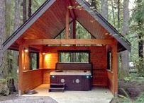 Private Hot-Tub Please! / Experience the ultimate-chill under the trees, the stars, the snow! Every Cabin pinned to this board features a private outdoor HOT TUB!!!