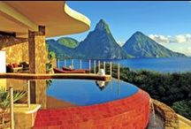 St.Lucia - Jade Mountain / Rising majestically above the 600 acre beach front resort of Anse Chastanet is Jade Mountain, one of the Caribbean's most mesmerizing resort experiences.  Each infinity pool sanctuary is an individual work of art, celebrating an unparalleled view of the Pitons and the Caribbean Sea. Enjoy an extravagantly sized private infinity edge pool in your sanctuary with the 4th wall missing entirely. The result is a stage-like setting & a view you are not likely to ever forget.