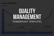 QUALITY MANAGEMENT // POWERPOINT TEMPLATES / Quality management consists of four parts: planning, control, assurance and improvement. Specific approaches such as total quality management (TQM) are still popular as well. We're pinning resources including templates, plans, examples, definitions, books, software, tools, apps, and more. Since we produce professional PowerPoint templates we might mention those as well from time to time where appropriate ;-)