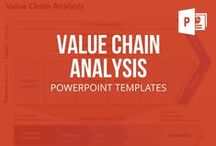VALUE CHAIN ANALYSIS // POWERPOINT TEMPLATES / Which activity generates how much value? Inbound logistics (incoming goods, storage), operations (production, packaging), outbound logistics (warehouse management, delivery), marketing & sales (pricing, distribution, advertising, process) and service activities (installation / configuration, maintenance, supplies, aftersales) are all part of a value chain's primary activities. These activities are supported by your firm's infrastructure, human resources, technology development and procurement.