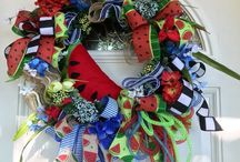 Patriotic Wreaths & Decor / PATRIOTIC Wreaths and other decor by She's Crafty Too. FOLLOW ME AT ETSY www.etsy.com/shop/shescraftytootx    FACEBOOK www.facebook.com/shescaftybyclaranicole   Www.facebook.com/groups/shescraftybyclara  INSTAGRAM @shescraftyclara