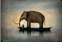 Art and Illustration - Elephants / My mom was crazy about elephants!  They were a part of her soul.