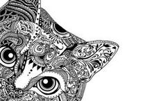 Art and Illustration - Zentangles / Zentagles - inspiration color and black and white