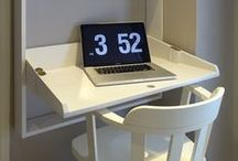 Home Office Design (by LEFKO) / HOME OFFICE: Tailor made wall desk with shelves - slim design.