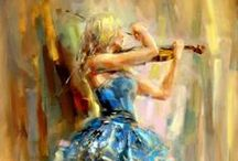 She Plays Violin in Art