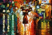 She Is Under Umbrella in Art