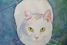 White Cat in Art