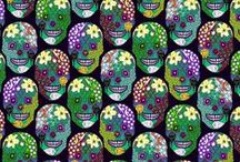 Fabric - Calaveras - Sugar Skulls / A wonderful ceremony where people honour their ancestors. They dress up in Fantastic Costumes, paint their faces into skulls and white masks. Quite an experience to see. These Fabrics are for those ceremonies. After you've pinned your fabric here, make sure you also pin it to the colour board that fits it best :-) thanks. Please feel free to invite others to join in on pinning to the board!