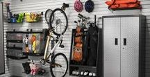 Garage Storage, StoreWall, Cabinets, Overhead Storage / Storage Cabinets, SlatWall, Peg Boards, Hooks, and Organization, Bike Racks and more.  Great for garage storage, mudrooms, basements, commercial and retail facilities.
