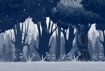 Game Backgrounds I / Stylish and modern Game Backgrounds and assets.