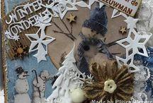 """Julekort """"vinter og snø"""" / snømenn, snøfnugg, stjerner, julestrømper og votter"""