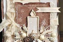 Julekort: Lys/klokker/kuler