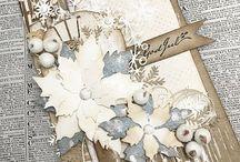 Julekort: Blomster/sløyfer/hjerter