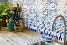 Our future Kitchen! / Large family space, multifunctional, terracotta, yellow, green, neutrals, rustic, handmade, vintage, upcycled, traveller, patterns, chilli and lemon prints, fish, large table, casual, quirky, comfortable, chilli plant, cacti, herbs, lemon tree, rug, tiles, original floorboards, quarry tiles, cast iron cookware. curated, copper, rustic open shelves,