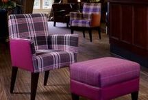 Calroust / Collection photography of hospitality upholstery - Contemporary tartan checks for upholstery with an inviting soft touch. Both distinct and subtle, each design is interpreted in classic and contemporary colours.