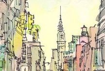 Ink Pen Drawings with Watercolors...