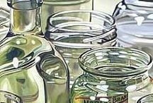 paintings drawings stills reflections / Art Painting Drawing Still Reflections Glass Water Glas Spiegelungen