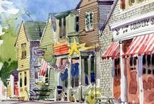 Art of Rockport / Rcokport, MA is the home to so many incredible galleries and artists. Bearskin Neck is a must see for any traveler to New England. #BearskinNeck #RockportMA #artist #gallery #galleries #capeann #NewEngland #art #motif