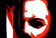Red White Black Horror Art