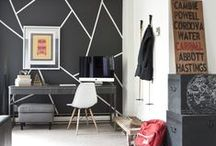 Home | Accent Walls / Interesting accent walls using paint, tape or decals.