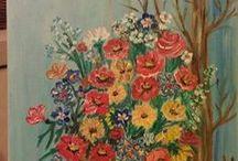 Pictura pe panza / Un copac cu flori-pictura in ulei