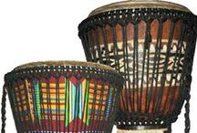 African Instruments / African Djembe drums, shakers, and other musical and percussion instruments.