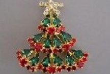 Jewelry - Vintage Rhinestone Christmas Trees / by Mickie McCord
