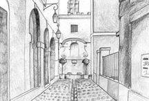 Perspective / Apprendre les grands principes de montage d'images en perspective. Dessins en extérieur, perspectives, croquis urbains, personnages et architecture.