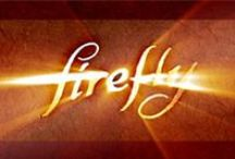 """Firefly / Firefly is an American space western drama TV series created by writer and director Joss Whedon. Set in the year 2517, after the arrival of humans in a new star system, and follows the adventures of the renegade crew of Serenity, a """"Firefly-class"""" spaceship. The ensemble cast portrays the nine characters that live on Serenity.  Firefly premiered on the Fox network on 9/20/02.  It won a Primetime Emmy Award in 2003 for Outstanding Special Visual Effects for a Series.  It was """"Cancelled Too Soon"""". / by Jeff Dyer"""