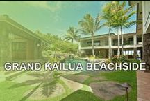 GRAND KAILUA BEACHSIDE / A Grand Beachside Estate on beautiful Kailua Beach. This premier luxury rental is set on 1.5 acres of world-famous Kailua beachfront property and boasts nearly 11,000 square-feet of spectacular design. Three separate living areas surround the lush courtyard and wrap-around decks overlook the cascading waterfall, the turquoise ocean and the sunrise off the shores of Kailua Beach. It's your own private paradise! Contact Ohana Beach Rentals Hawaii for more information. www.OBRHI.com