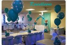 Tiffany baby shower balloons / created by Rosielloons