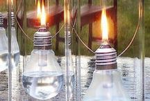 Light bulb Oil lamp / This is a neat and fun way of reusing those burnt out light bulbs to glow with light again.  Great for power outages