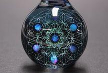Amorphous Art / Glass Dichro & Opal Pendants made by Amorphous Art
