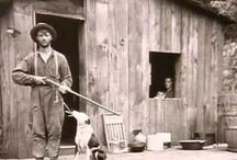 """1863-91 Hatfield's & McCoy's / The Hatfield–McCoy feud (1863–1891) involved two families of the West Virginia–Kentucky area along the Tug Fork of the Big Sandy River. The Hatfields of West Virginia were led by William Anderson """"Devil Anse"""" Hatfield while the McCoys of Kentucky were under the leadership of Randolph """"Ole Ran'l"""" McCoy. / by Margaret Martin"""