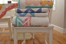 Quilts on Chairs! / Have not a clue...but I love them!